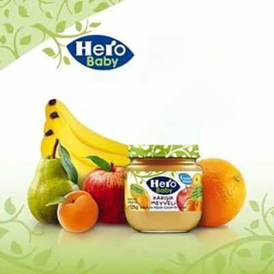 پوره-هیرو-بیبی-مخلوط-نارنگی، موز، سیب و هلو